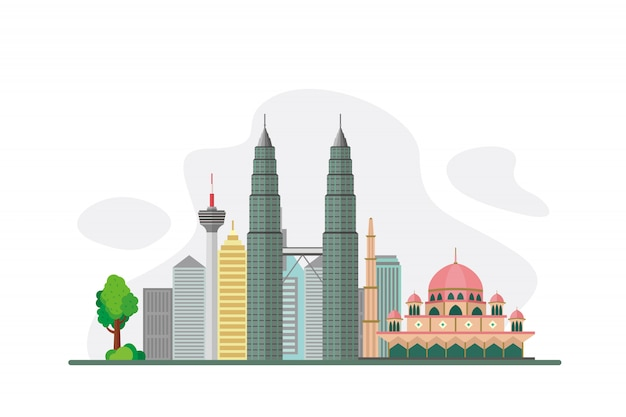 Malaysia famous landmarks background