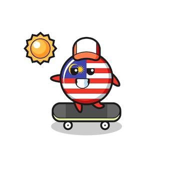 말레이시아 국기 배지 캐릭터 그림은 스케이트보드를 타고, 티셔츠, 스티커, 로고 요소를 위한 귀여운 스타일 디자인