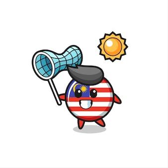 말레이시아 국기 배지 마스코트 삽화는 나비, 티셔츠, 스티커, 로고 요소를 위한 귀여운 스타일 디자인을 잡고 있습니다.