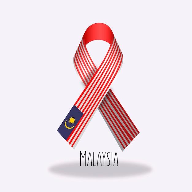 Malaysia flag ribbon design