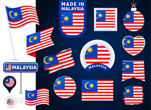 Malaysia flag vector collection. big set of national flag design elements in different shapes for public and national holidays in flat style. post mark, made in, love, circle, road sign, wave