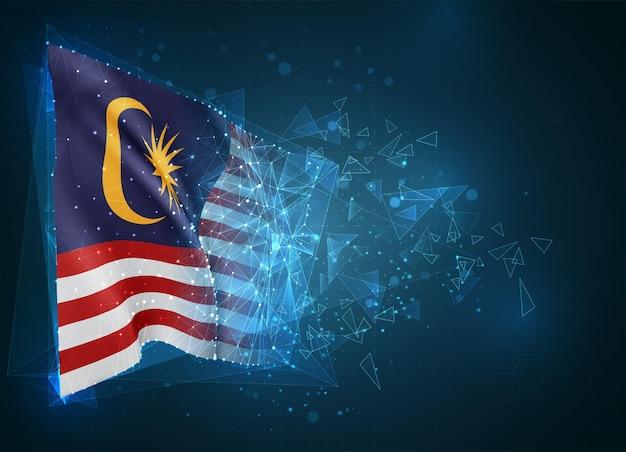 Малайзия, флаг, виртуальный абстрактный 3d-объект из треугольных многоугольников на синем фоне