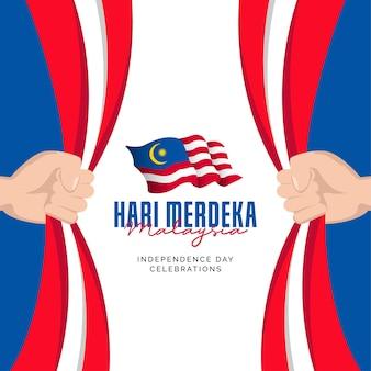 Шаблон оформления баннеров празднования национального дня малайзии день независимости малайзии