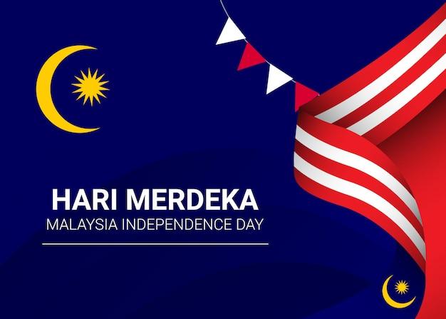 말레이시아 독립 기념일 템플릿입니다. 배너 디자인; 인사말 카드 또는 인쇄.