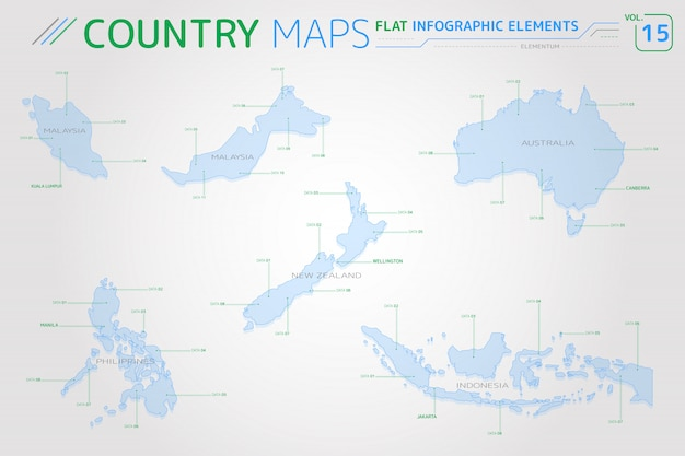 Malaysia, indonesia, australia, new zealand and philippines vector maps