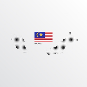 Malaysia map design with flag and light background vector