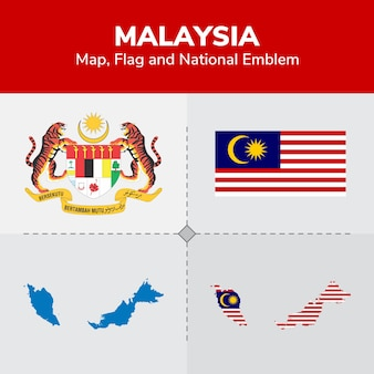 Malaysia map, flag and national emblem