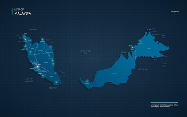 Malaysia map with blue neon light points