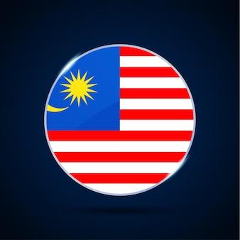 Значок кнопки круга национального флага малайзии. простой флаг, официальные цвета и правильные пропорции. плоские векторные иллюстрации.