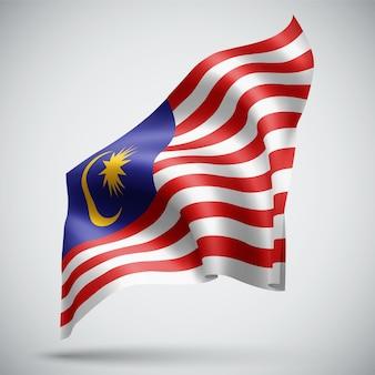 말레이시아, 흰색 배경에 고립 된 벡터 3d 플래그