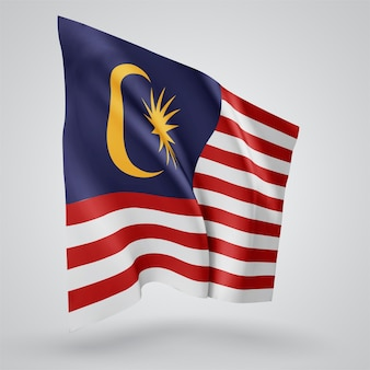 Malaysia, vector flag with waves and bends waving in the wind on a white background.