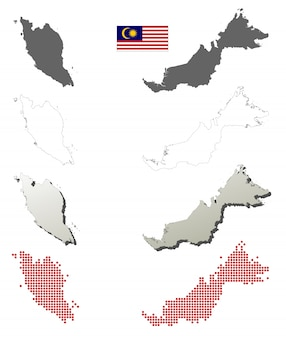 Malaysia vector outline map set