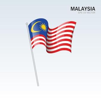 グレーに分離された旗を振っているマレーシア