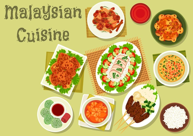 Malaysian cuisine dinner icon of ginger chicken with rice and vegetables illustration