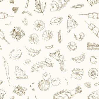 Малайзийская еда рисованной вектор бесшовные модели. азиатская традиционная кухня реалистичный фон, фон. китайская еда и тайские изысканные закуски, винтажная оберточная бумага, дизайн обоев.