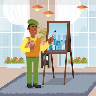 先生はmalbertに立っています。教室で都市の景観を描きます。