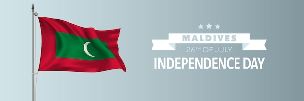 Иллюстрация счастливого дня независимости мальдив. мальдивский национальный праздник 26 июля элемент дизайна с развевающимся флагом на флагштоке