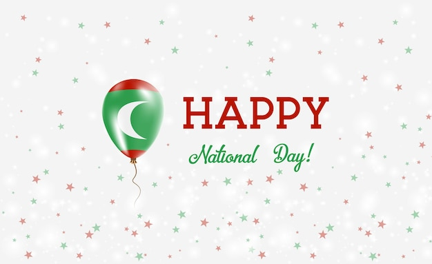 몰디브 국경일 애국 포스터. 몰디브 국기의 색상에 고무 풍선을 비행. 풍선, 색종이 조각, 별, 보케, 반짝임이 있는 몰디브 국경일 배경.