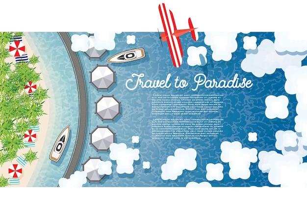 열 대 해변, 야자수, 호텔, 구름, 비행기와 몰디브 여름 배경. 조감도. 벡터 일러스트 레이 션.