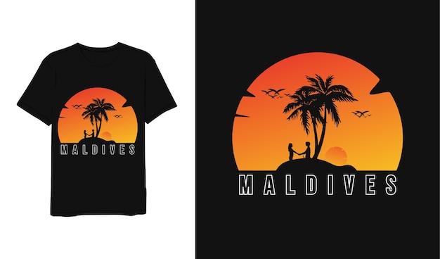 Мальдивы, дизайн футболки желтый оранжевый белый минималистичный современный простой стиль