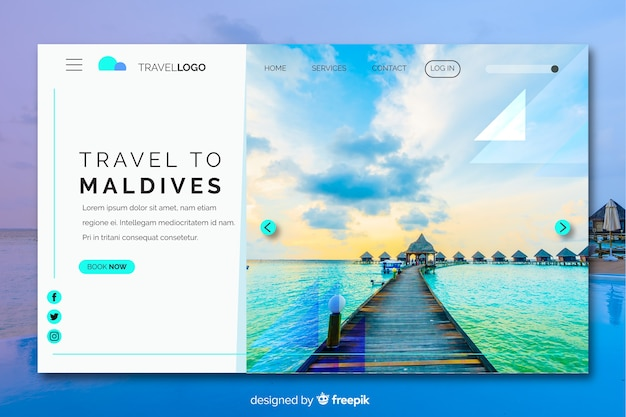 Maldives travel landing page with photo