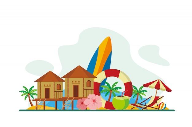 Maldives tropical island landmarks background