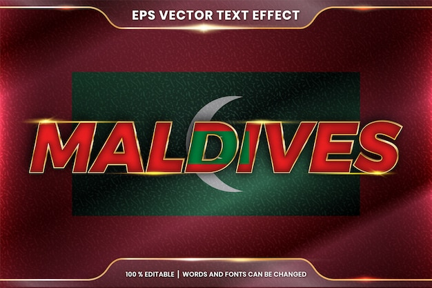 Maldives with its national country flag, editable text effect style with gradient gold color concept