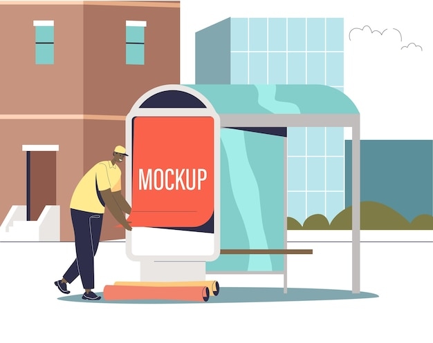 Male advertising agency worker putting promotion poster mockup on bus station. urban outdoor advertisement and street marketing concept. cartoon flat vector illustration