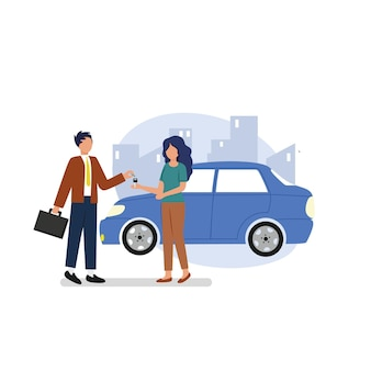 A male agent makes a deal with a female agent. car sales and rentals