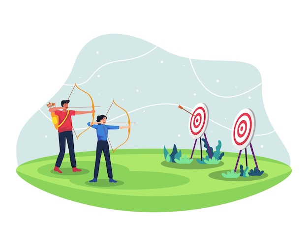 Мужчины и женщины соревнуются в стрельбе из лука, вместе тренируются в стрельбе из лука. лучники в матче по стрельбе из лука на спортивных соревнованиях. в плоском стиле