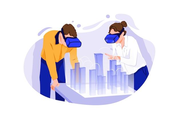 증강 현실 헤드셋을 착용 한 남성 및 여성 건축가는 3d 도시 모델로 작업합니다.