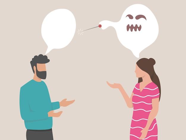 남성과 여성이 공격성과 분노 삽화로 의사소통하면서 서로 소리를 지르며 말다툼을 합니다.