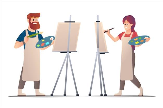 Художники мужского и женского пола рисуют на холсте персонажа из мультфильма