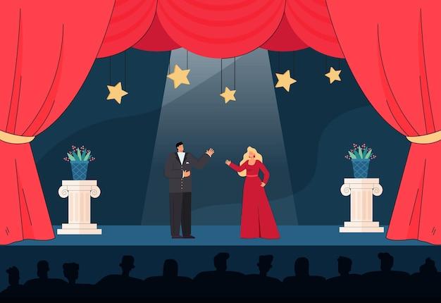 관객 앞에서 무대에서 연주하는 남성과 여성 예술가. 드라마 노래 평면 그림을 노래하는 이브닝 드레스의 만화 출연자