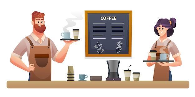 コーヒーショップのイラストでコーヒーを運ぶ男性と女性のバリスタ