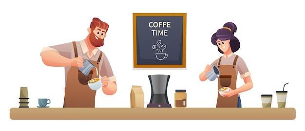 コーヒーショップのイラストでコーヒーを作る男性と女性のバリスタ