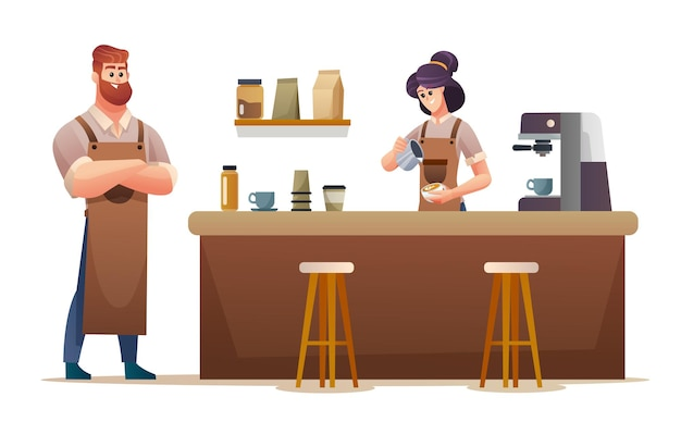 コーヒーショップの漫画イラストで働く男性と女性のバリスタ