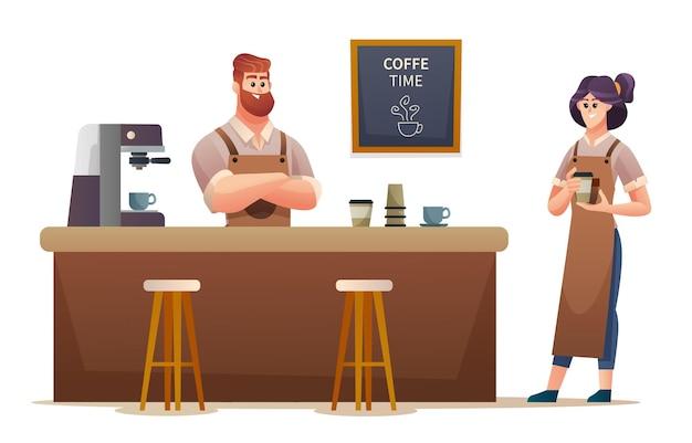 コーヒーショップのイラストで働く男性と女性のバリスタ