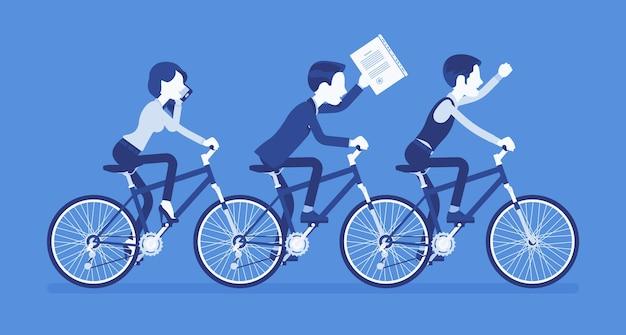 男性と女性のビジネスタンデム。協力と合意に基づいて一緒に自転車に乗る成功したチーム。同期、プロの一体感のメタファー。ベクトルイラスト、顔のない文字