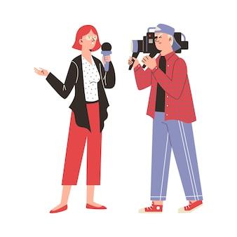 テレビニュースを報道する男性と女性の漫画のキャラクタージャーナリスト