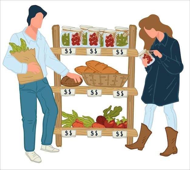 상점에서 신선한 야채와 과일을 사는 남성과 여성 캐릭터. 시장에서 쇼핑하는 사람들. 선반에 있는 항아리, 당근 및 비트 뿌리에 보존된 피클. 유기농 채소. 평면 스타일의 벡터