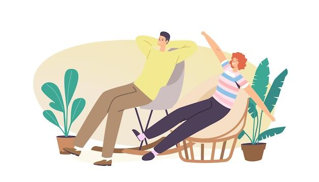 Мужской и женский персонаж в домашней одежде, растягиваясь и расслабляясь в удобных мягких креслах. современный дизайн домашнего декора из натуральных материалов