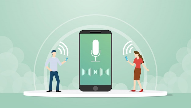 Мужской и женский персонаж используют технологию голосового управления на смартфонах с плоским стилем дизайна.