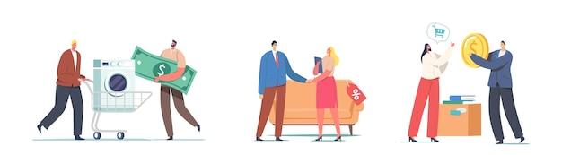 Персонажи мужского и женского пола приносят старые вещи и отходы техники в концепцию ломбарда. покупатели покупают и продают бывшую в употреблении электробытовую технику, мебель, книги. мультфильм люди векторные иллюстрации
