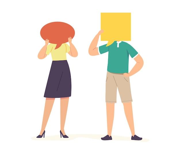ふきだしの顔と通信する男性と女性のキャラクター。話している人、一緒に話している人、話し合っている人