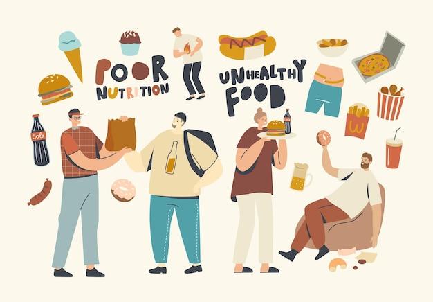 남성과 여성 캐릭터는 패스트푸드 버거, 겨자와 핫도그, 감자튀김, 도넛, 소다 음료를 먹습니다. 사람들은 길거리 카페에서 패스트푸드, 건강에 해로운 식사, 정크 식사를 즐깁니다. 선형 벡터 일러스트 레이 션