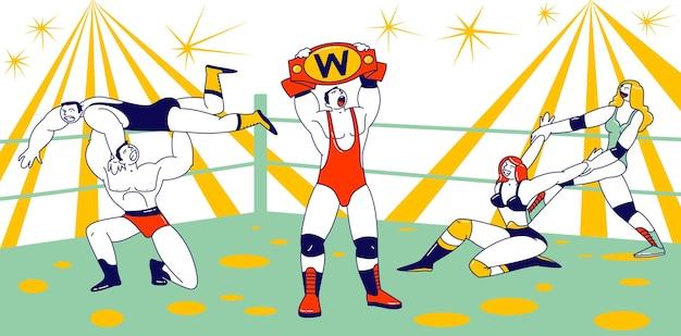 Мужские и женские персонажи сражаются на соревнованиях по борьбе. спортсмены-мужчины и женщины проводят спортивное шоу на арене. победитель демонстрирует, как держится за пояс над головой. линейные векторные иллюстрации людей