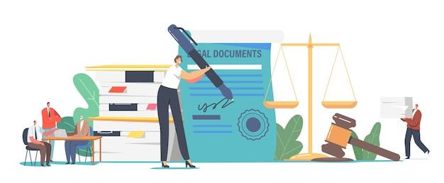 男性と女性のキャラクターは公証人の専門サービスの概念を取得します。人々は法的文書に署名するために弁護士事務所を訪れます。巨大なペンサインのドキュメントを持つ小さな秘書。漫画のベクトル図