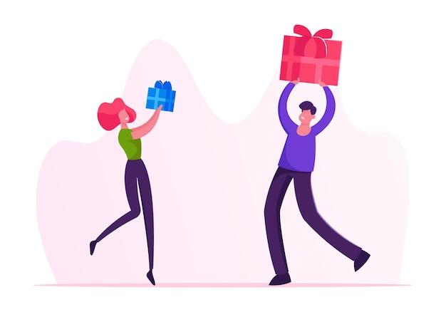 冬の休日や誕生日のお祝いにお互いにプレゼントを贈る男性と女性のキャラクター。漫画フラットイラスト