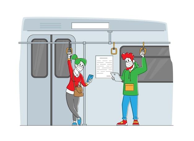 지하철에서 의료 마스크의 남성 및 여성 캐릭터